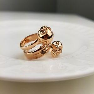 Alexander McQueen Crystal Spiral Skull Ring 6.25